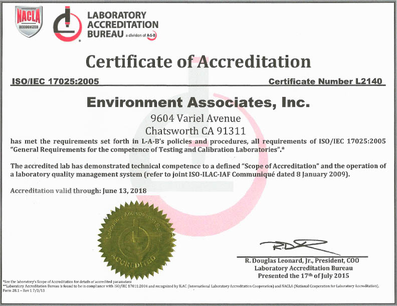 Environment Associates Los Angeles County Certificate of Accrediation with Laboratory Accreditation Bureau Page 1